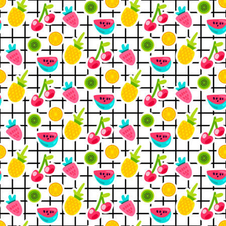 Fruits patches seamless vector pattern. Kiwi, watermelon, strawberry stickers on grid background