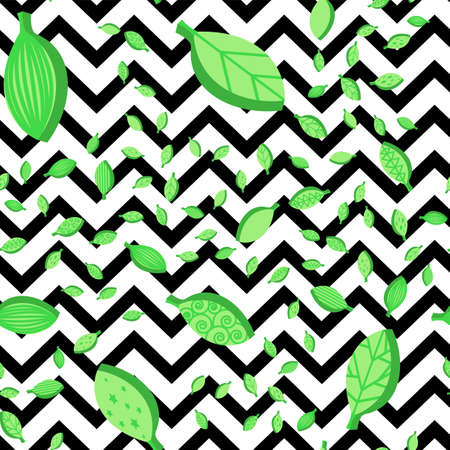 Falling leaves seamless vector pattern. Green flat foliage on zigzag background. Textile design