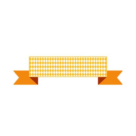 Ribbon for text flat orange color illustration. Festival decoration. Isolated vector design element Vettoriali