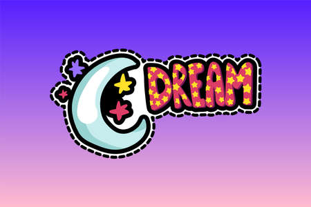 Moon, stars with dream lettering patch. Bedtime stitched frame flat sticker. Dash line drawing