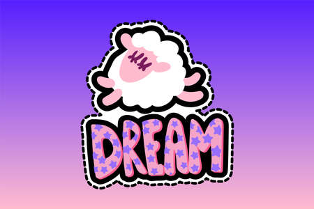 Sheep with dream lettering stitched frame patch. Sleeping lamb flat sticker. Dash line cute drawing