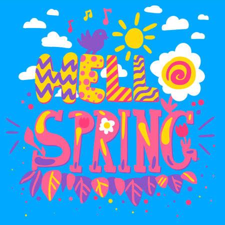 Hello spring hand drawn lettering. Scandinavian style illustration. Greeting card, poster, banner Illustration