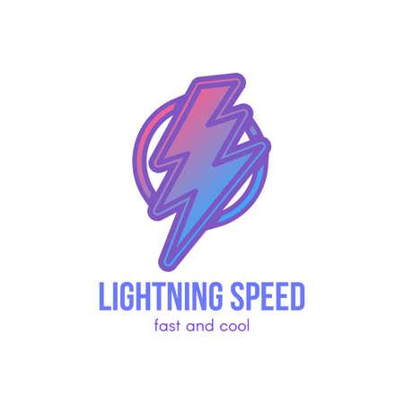 Thunder cartoon gradient illustration. Lightning bolt in circle. Speed, energy hand drawn symbol