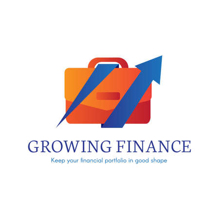 Growing finance flat gradient icon. Business,banking company logo. Digital case isolated clipart