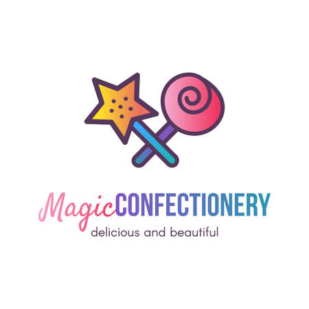 Magic confectionery shop flat vector logo design. Isolated outline sweets bar, store sign concept