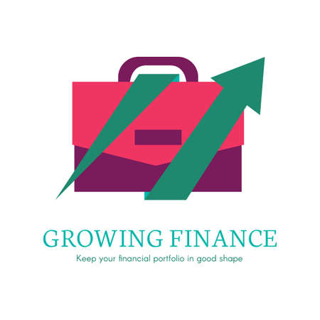 Growing finance flat lettering. Business,banking company logo, icon. Digital case isolated clipart
