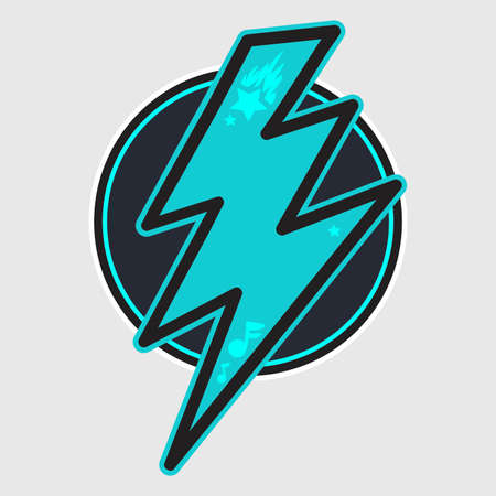 Thunder cartoon color illustration. Lightning bolt in circle. Speed, energy hand drawn symbol