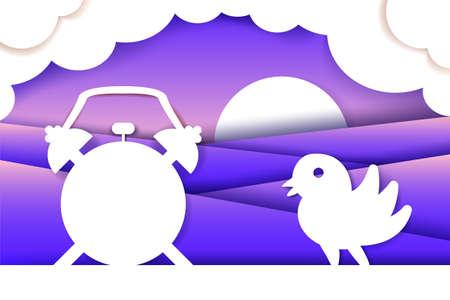 Morning composition paper cut. 3d vector layered origami. Alarm, bird, sunrise. Poster design idea Reklamní fotografie - 122041307