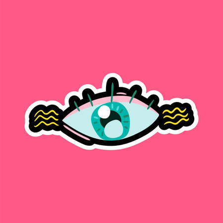 Eye stitched frame illustration. Good morning vector sticker, patch. Dash line flat color drawing