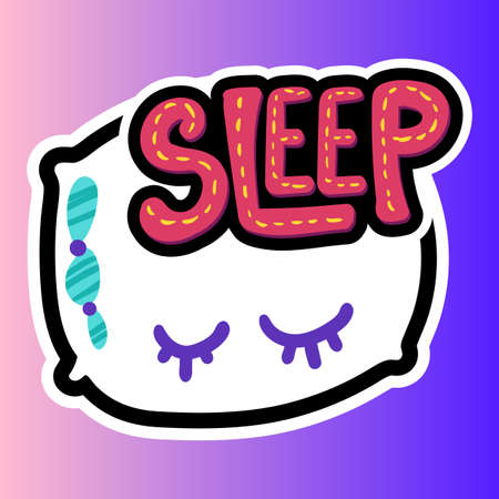 Pillow stitched frame illustration. Sleep lettering. Good night, sweet dreams sticker, patch