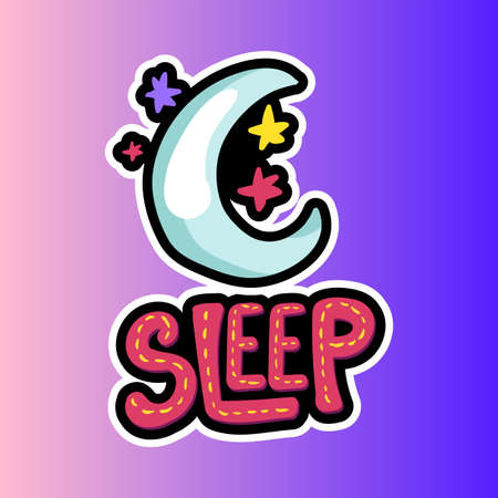 Moon, stars with sleep lettering patch. Bedtime stitched frame flat sticker. Night sky sticker Illustration