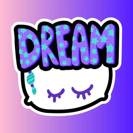Pillow with dream lettering stitched frame patch. Good night flat sticker. Dash line cute drawing