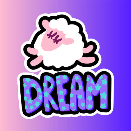 Sleeping sheep stitched frame patch. Dream lettering flat sticker. Dash line cute illustration