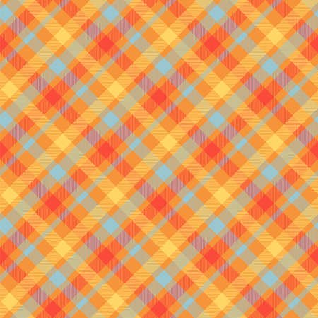 Tartan orange color seamless vector pattern. Flannel fabric texture. Checkered textile background