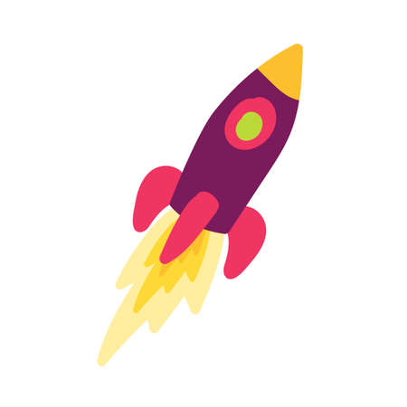 Rocket hand drawn color illustration. Startup, business launch. Spacecraft cartoon design element