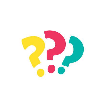 Question marks cartoon multicolor illustration. FAQ, help. Interrogation signs hand drawn element Illustration