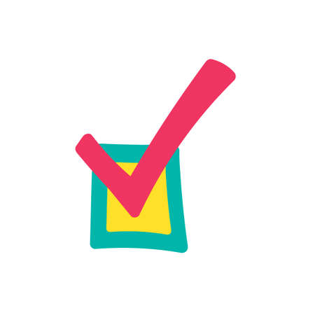 Checkbox hand drawn color illustration. Checkmark, tick. Done, approved cartoon design element