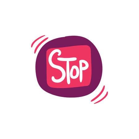Wrist bracelet flat vector illustration. Stop lettering. Timer, stopwatch hand drawn design element Ilustração
