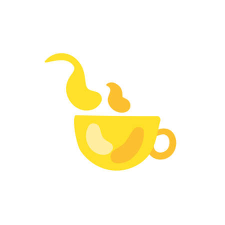 Cup flat color illustration. Hot drink, tea, coffee. Yellow mug with steam hand drawn design element