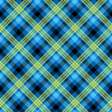 Tartan blue color seamless vector pattern. T-shirt fabric texture. Napkin textile background Ilustração