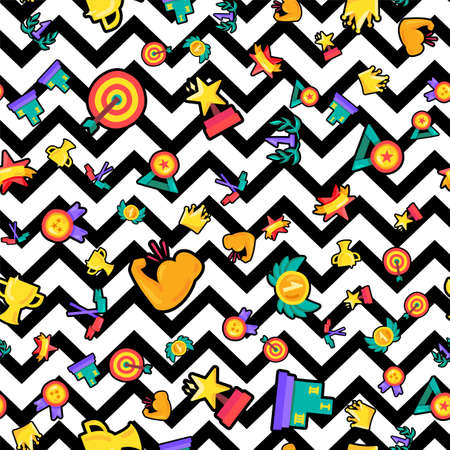 Awards seamless color vector pattern. Medals, trophies, rewards, prizes on zigzag lines background
