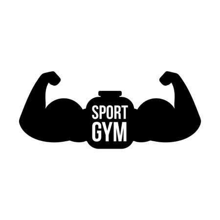 Sport gym vector logo concept. Bicep muscles illustration. Fitness center sign idea with lettering Ilustração