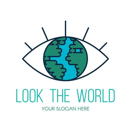 Planet Earth eye flat vector logo design. Look the world outline travel agency sign concept Ilustração