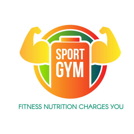Sport gym vector logo design. Workout. Flat fitness center, healthy nutrition shop sign concept