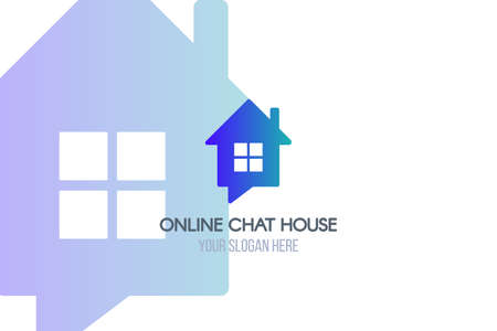 Chatroom flat logo template. Online chat house lettering with copyspace. Blue home logotype design