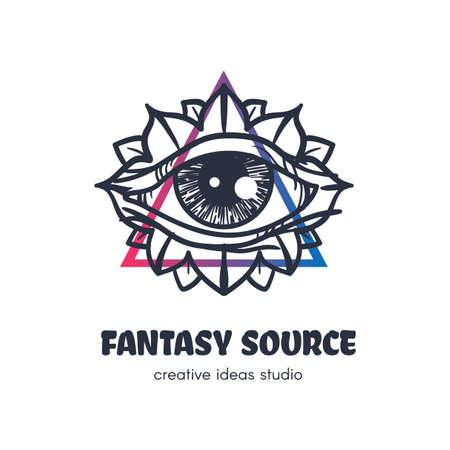 Stylized eye of providence vector logo design. Fantasy source outline art studio sign concept Ilustração