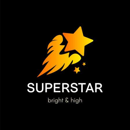Flying star simple vector logo concept. Flat color comet company icon design with lettering Ilustração