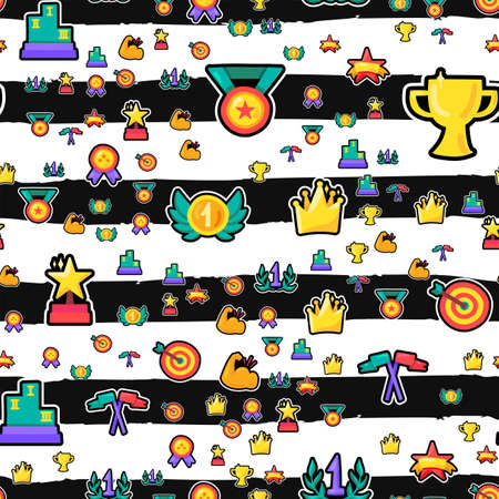 Awards seamless color vector pattern. Trophies, medals, prizes stickers on striped background