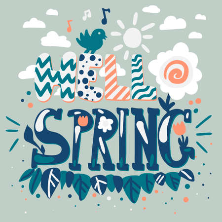 Hello spring lettering. Flat design vector quote. Greeting card, poster, banner cartoon illustration