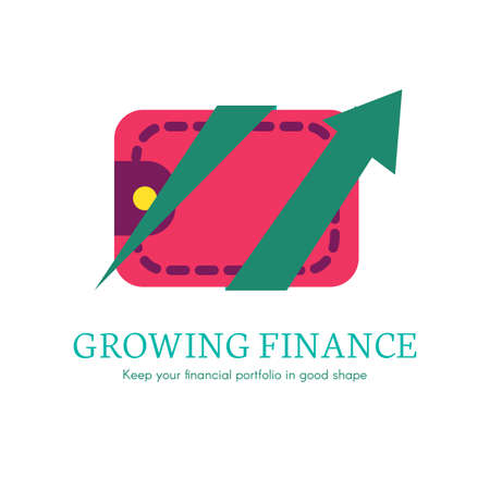 Growing finance flat lettring. Payment, purchase transaction logo, icon. Digital wallet clipart