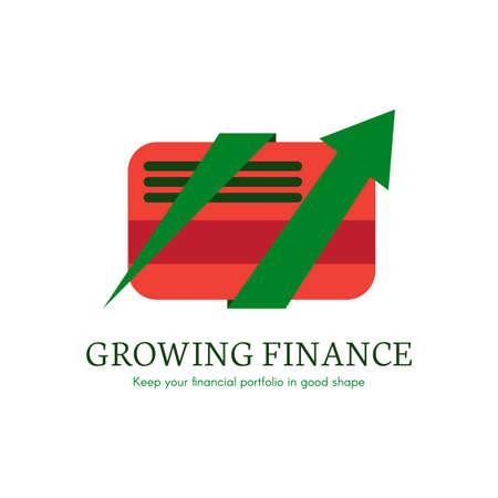 Growing finance flat gradient icon. E-payment, money transaction logo. Digital credit card clipart Ilustração