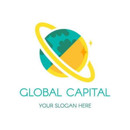 Earth globe vector logo design. Digital planet finance, banking company icon concept with lettering