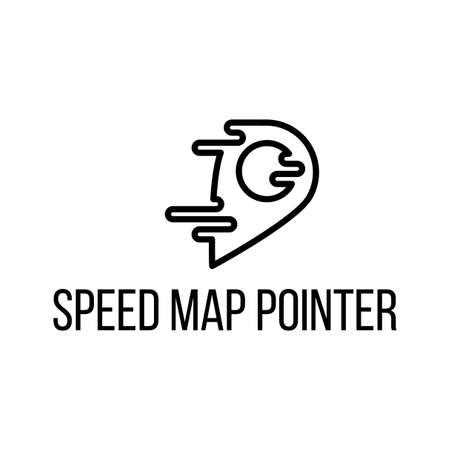 Speed map pointer lettering vector icon design. Flat GPS navigator, delivery company logotype design