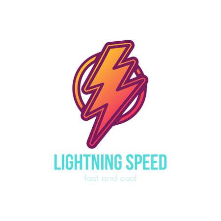 Thunder cartoon color illustration. Lightning speed lettering. Speed, energy hand drawn symbol