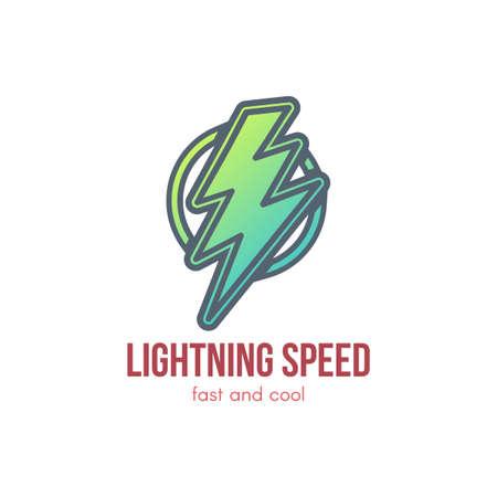 Thunder cartoon green outline illustration. Lightning bolt in circle. Speed, energy lettering