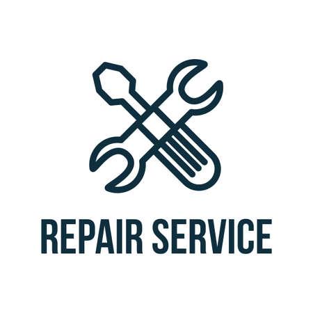 Repair Service flat vector logo design. Digital tools car workshop logotype concept with lettering Ilustração