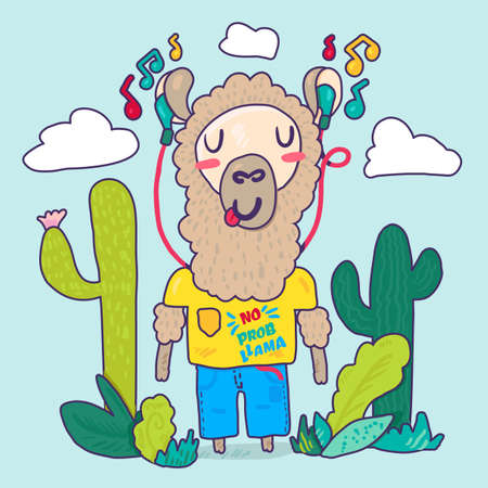 Llama in earphones flat cartoon character. Stylized lettering. Hipster lama, cacti contour drawing