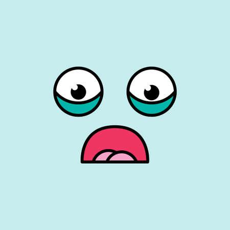 Shocked, scared emoji vector illustration. Fear emoticon, blue social media cartoon sticker