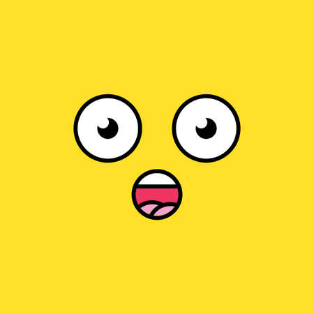 Surprised, shocked emoji vector illustration. Wow emoticon, dazed social media cartoon feeling