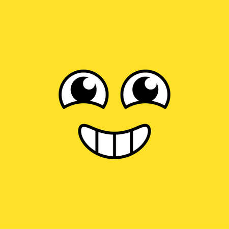 Smiling excited emoji vector illustration. Agitated emoticon, happy social media cartoon face Illustration
