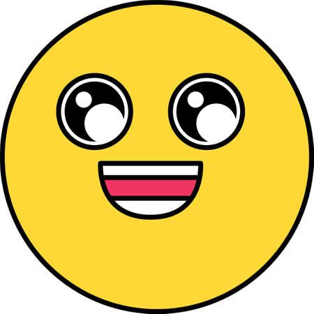 Wide smile emoji vector illustration. Cheerful emoticon. Yellow social media cartoon sticker