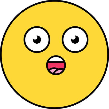 Surprised, shocked emoji illustration. Yellow wow emoticon, dazed social media cartoon head Ilustração