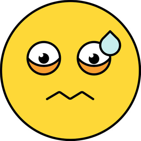 Worried, nervous emoji vector illustration. Confused emoticon, upset sticker. Yellow cartoon head