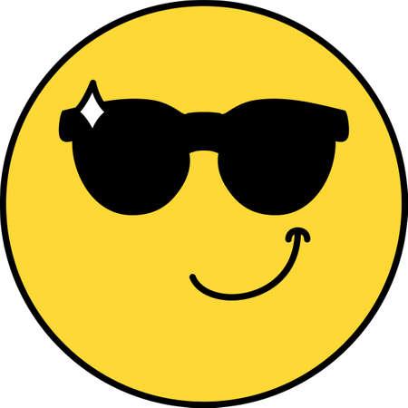 Cool, confident emoji vector illustration. Emoticon in sunglasses, social media cartoon sticker