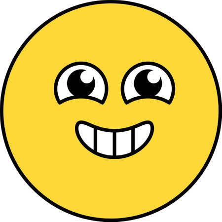 Happy, excited emoji vector illustration. Agitated emoticon, happy social media cartoon head