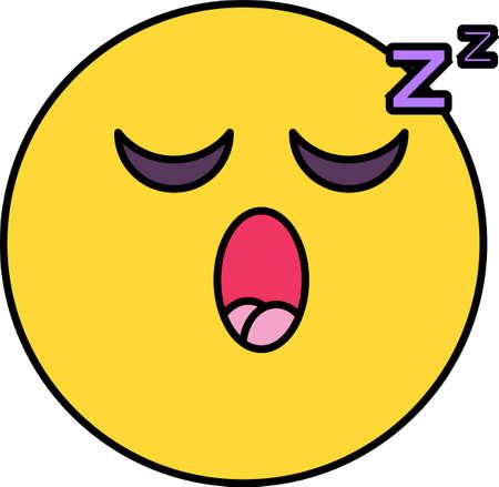 Illustration vectorielle emoji endormie. Émoticône épuisée et fatiguée. Sentiment, autocollant de dessin animé d'émotion
